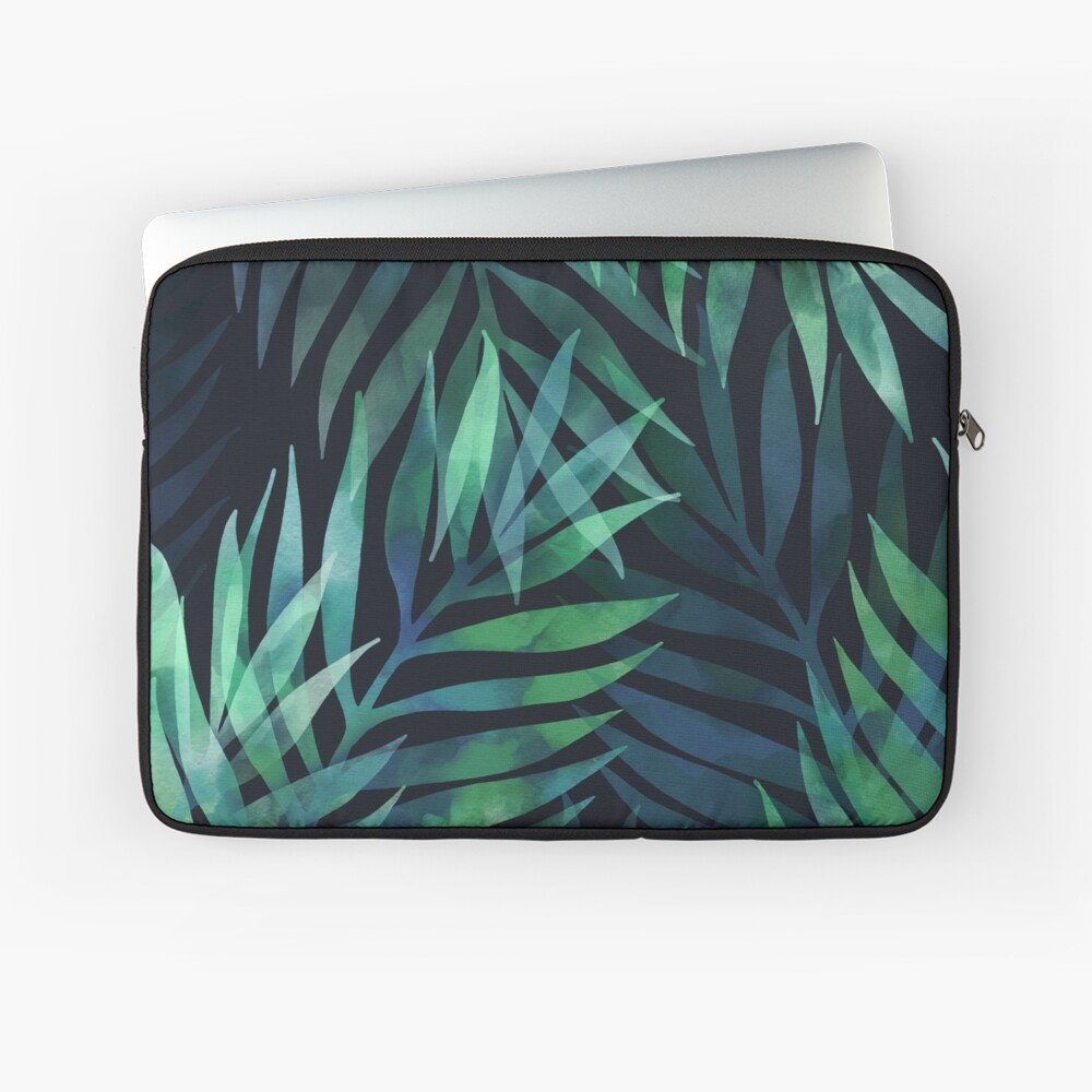 Dark green palms leaves pattern Laptop Sleeve