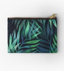 Dark green palms leaves pattern Studio Pouch