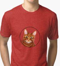 Ginger Cat Watercolor Painting Wildlife Artwork Tri-blend T-Shirt