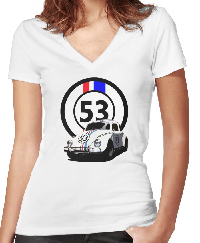HERBIE 53 - THE LOVE BUG Women's Fitted V-Neck T-Shirt