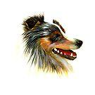 Sheltie Dog Acrylic Painting Pet Artwork by Alison Langridge