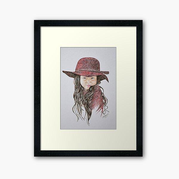 Little Girl in Red Framed Art Print
