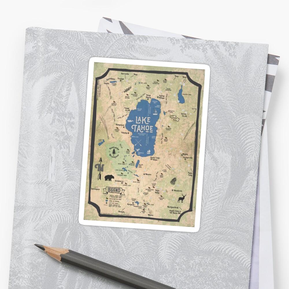 Faux Vintage Map of the Lake Tahoe Region Sticker