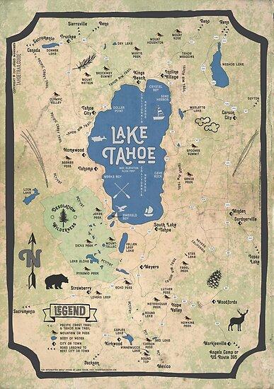 Faux Vintage Map of the Lake Tahoe Region\