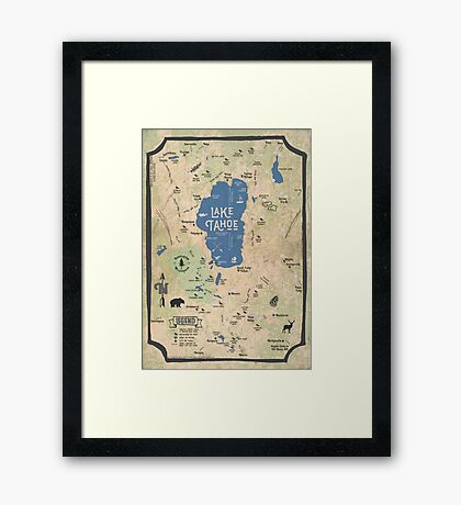 Faux Vintage Map of the Lake Tahoe Region Framed Print