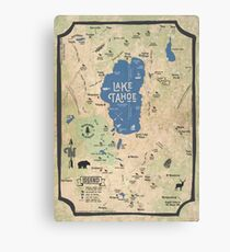 Faux Vintage Map of the Lake Tahoe Region Canvas Print