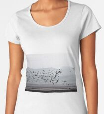 Barnacle geese buzz the Solway mud flats Women's Premium T-Shirt