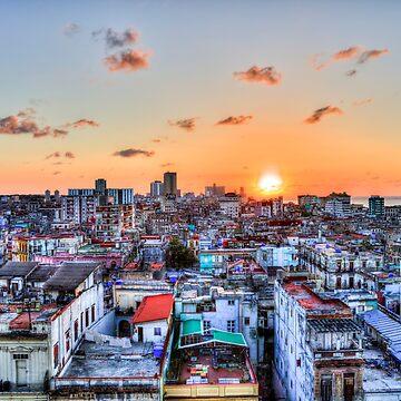Cuban Rooftops Sunset, Havana, Cuba by tommysphotos