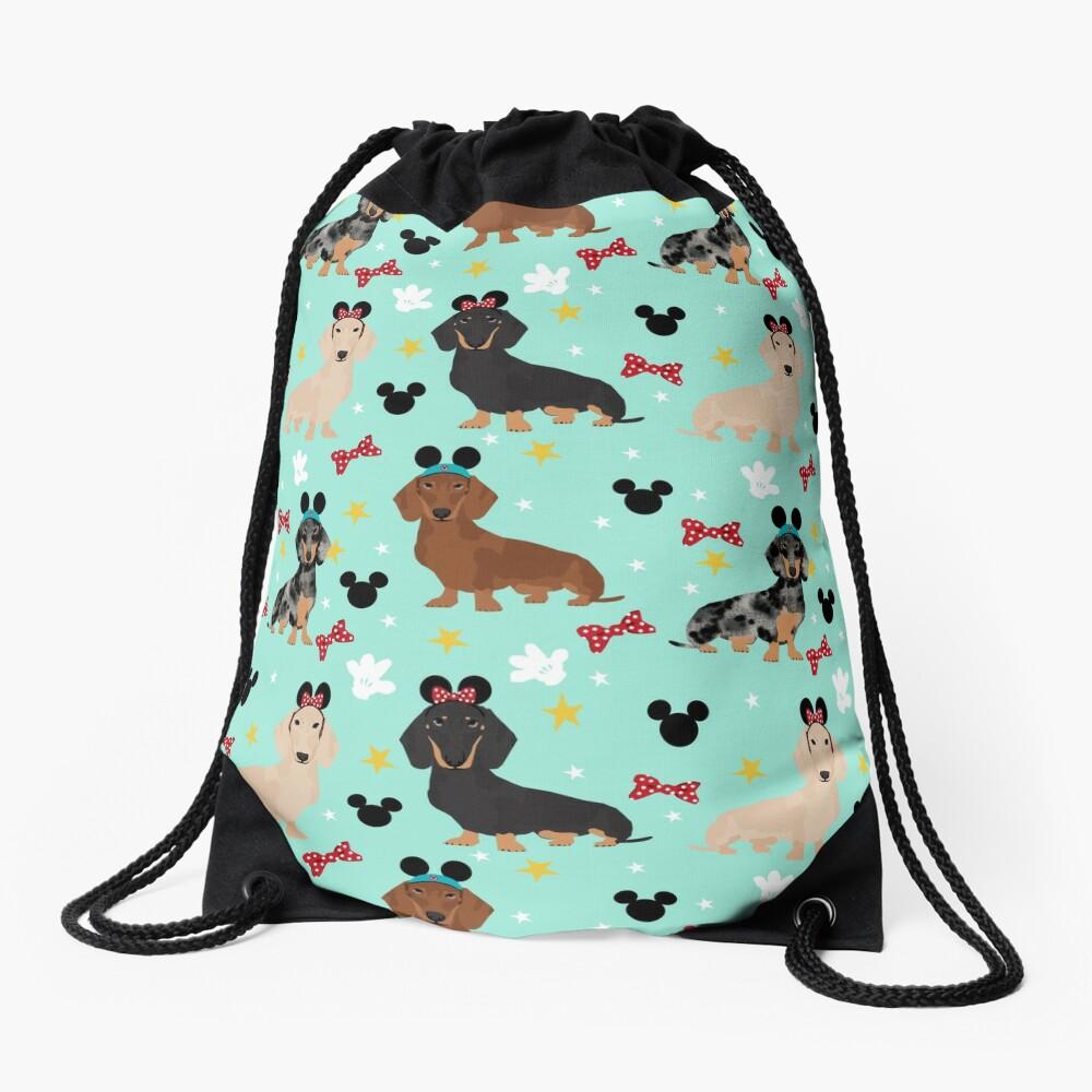 dachshund theme park dog lover vacation wiener dogs  Drawstring Bag