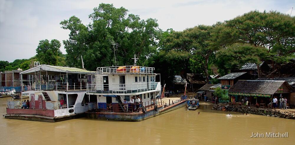 Irrawaddy shore.... by John Mitchell
