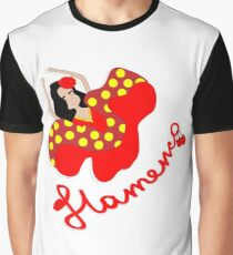 Spanish flamenco dancer moving in traditional dress. Graphic T-Shirt