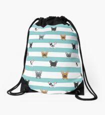 French Bulldog stripes  Drawstring Bag