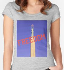 Freedom red text on blue sky Women's Fitted Scoop T-Shirt