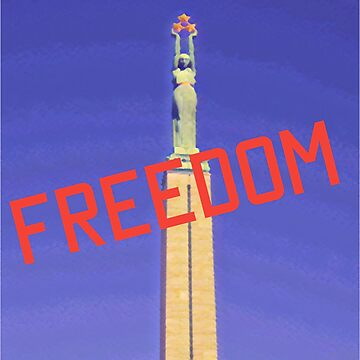 Freedom red text on blue sky by cutehuur