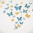 Duvet Cover Butterfly Blue And Yellow Butterflies by CreatedProto
