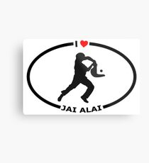I Love Jai Alai with Heart Metal Print