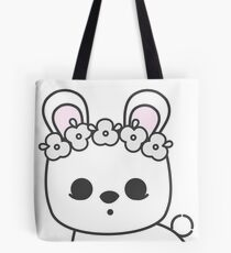 Cute Blanc de Hotot Bunny with Flower Crown: Grey Outline Tote Bag