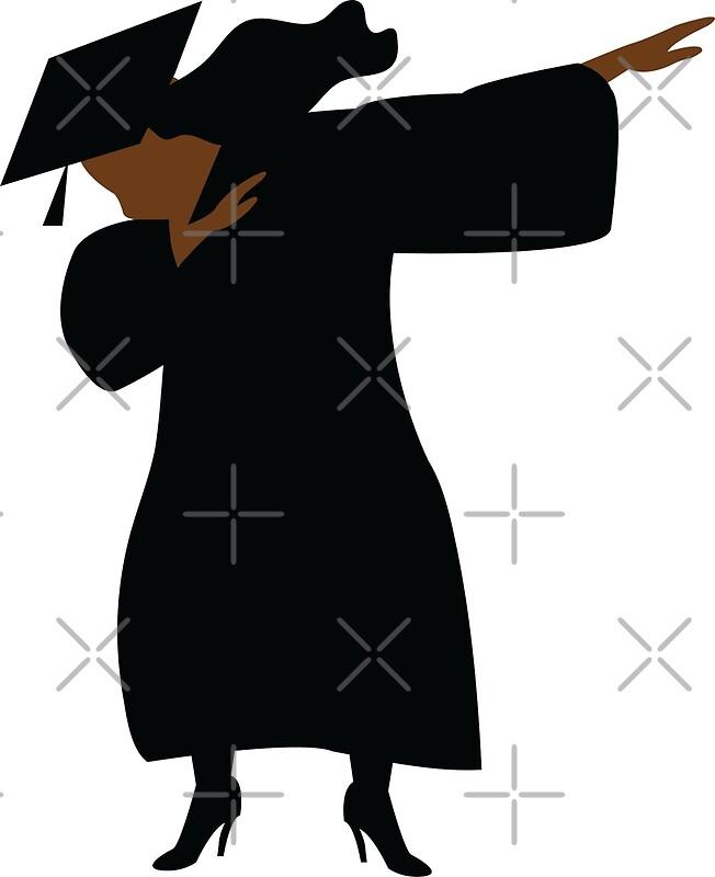 HBCU Black Woman Dabbing Graduation Cap and Gown\