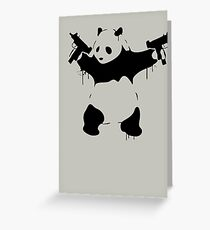 Banksy Panda With Guns Greeting Card