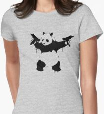 Banksy Panda With Guns Womens Fitted T-Shirt