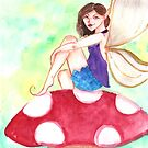 Woodland Fairy on a Toadstool by artdamnit
