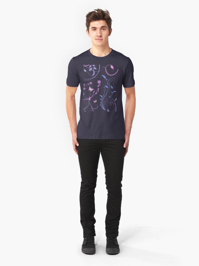 Alternate view of Floral Swirls and Butterflies Slim Fit T-Shirt