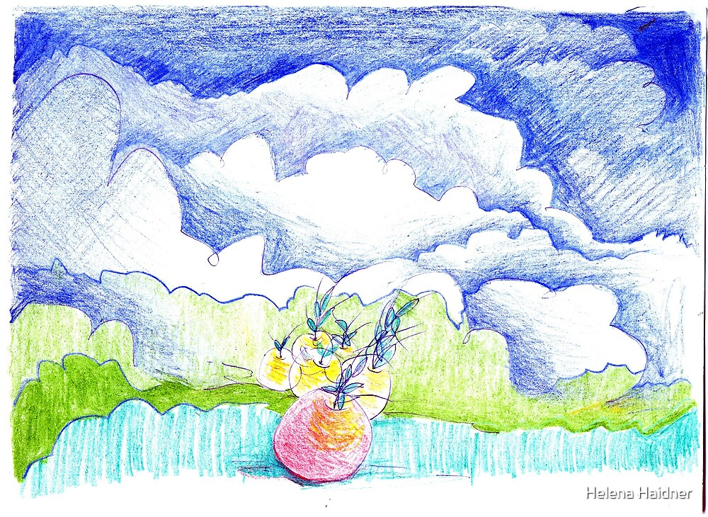Little Red Apple, Blue Billowy Clouds by Helena Haidner