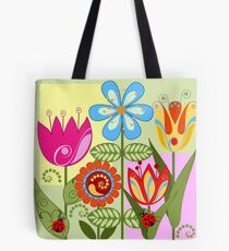 Whimsical flowers and Ladybugs Tote Bag