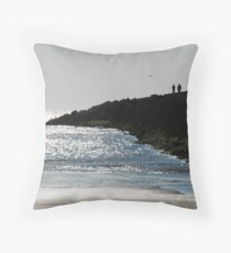 Walking on the jetty at IJmuiden Throw Pillow