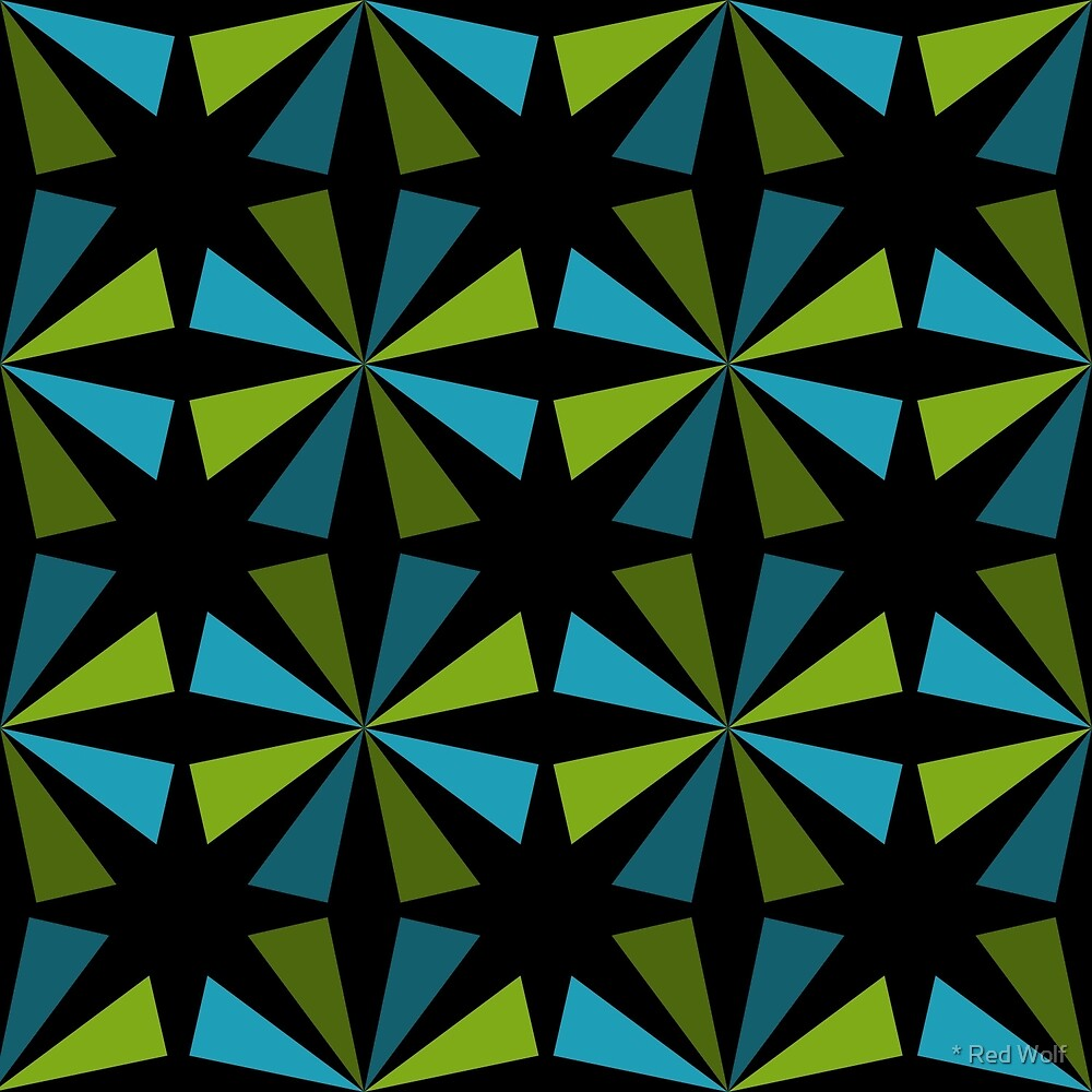 Geometric Pattern: Star: Blue/Green by * Red Wolf