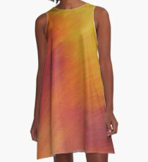 Abstract Painting of Orange,Yellow and Red A-Line Dress