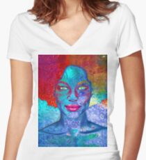 Dull Women's Fitted V-Neck T-Shirt
