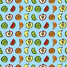 Fruit Abstract Pattern Oranges, Apples and Limes in Blue by Shelly Still