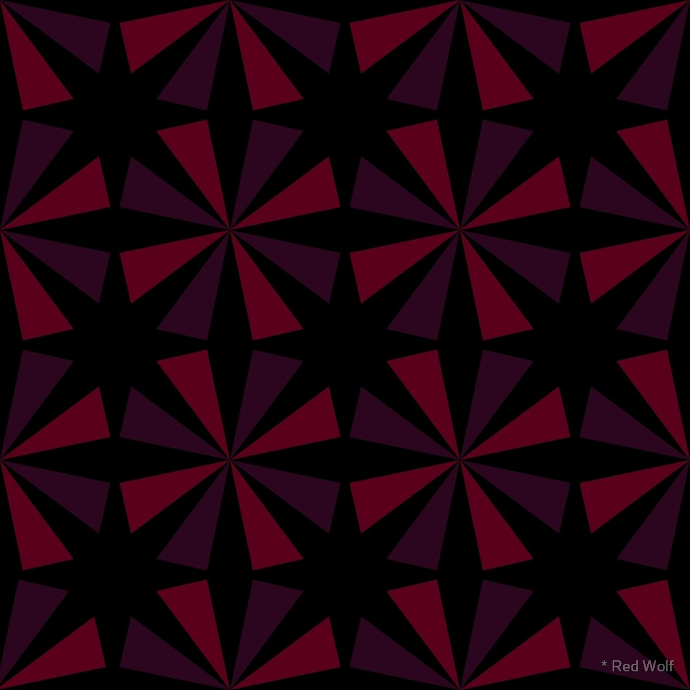 Geometric Pattern: Star: Red/Black by * Red Wolf