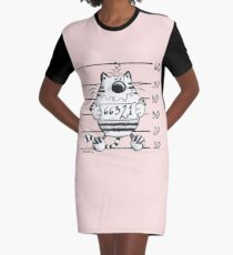 Cool Wanted Cat - Prison Kitty Graphic T-Shirt Dress
