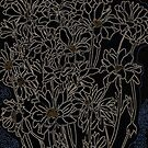 Daisy Chrysanthemum Flowers, Black, Floral Art by clipsocallipso
