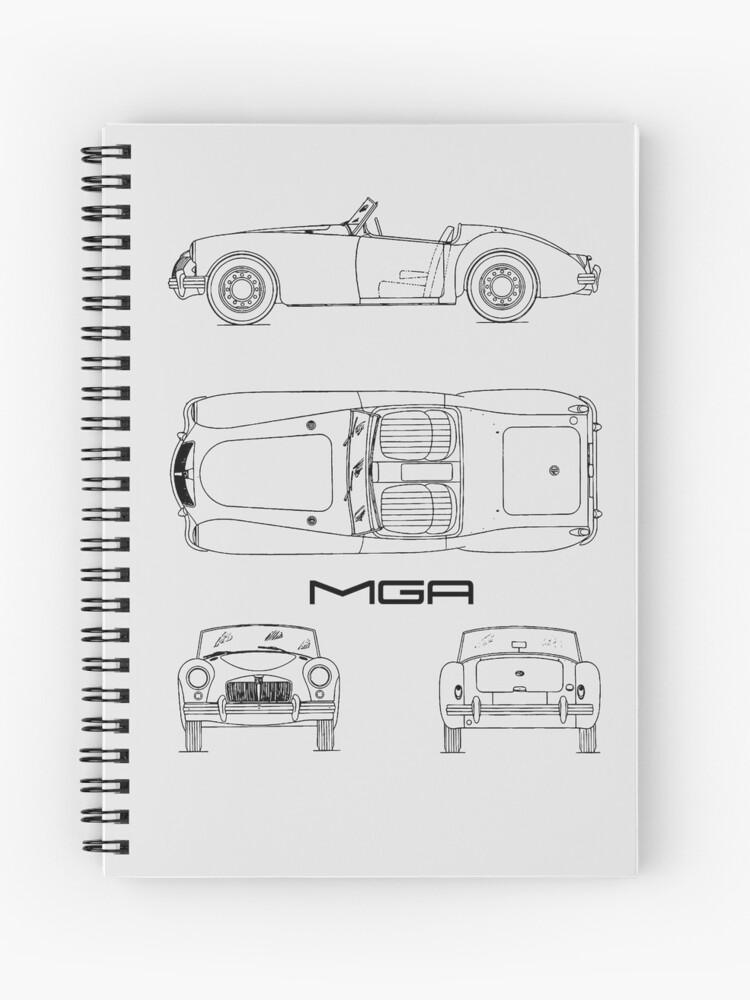MGA Sports Car Blueprint   Spiral Notebook