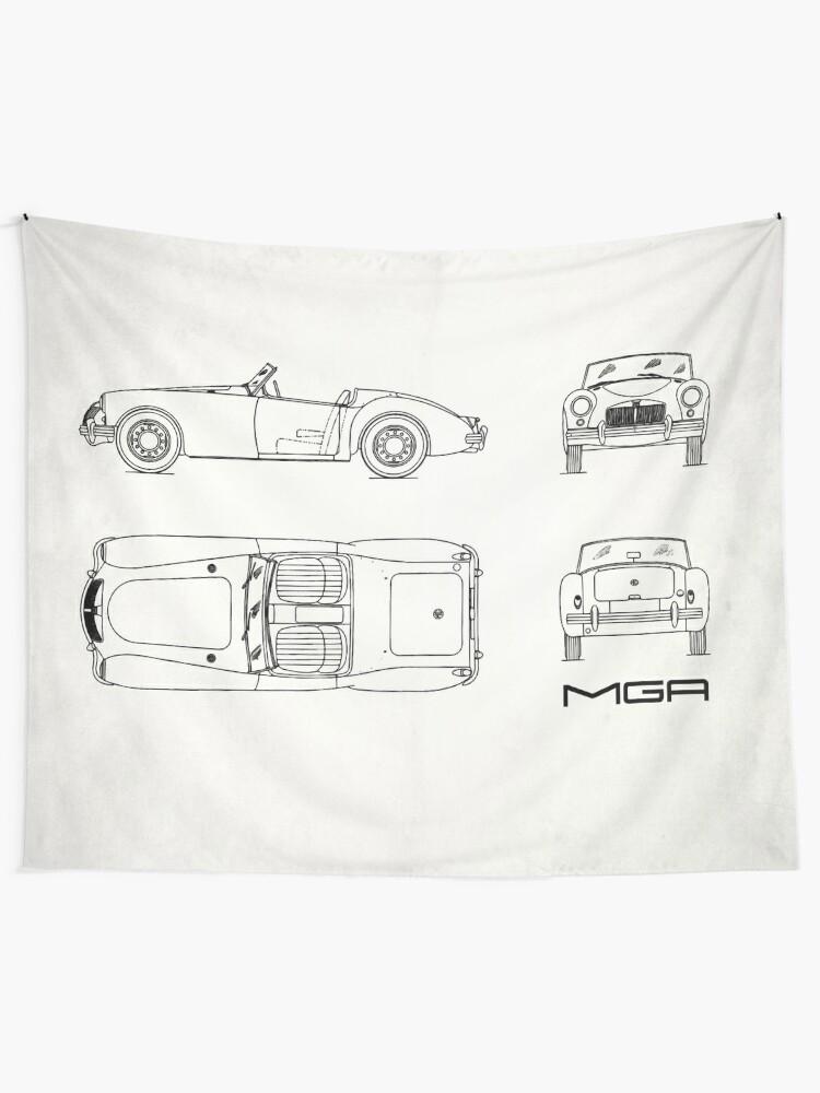 MGA Sports Car Blueprint | Wall Tapestry