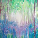 Bluebell Invasion - a spring woodland abstract with bluebells by Gill Bustamante
