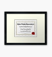 Pirates' Insult Swordfighting Diploma (Monkey Island) Framed Print