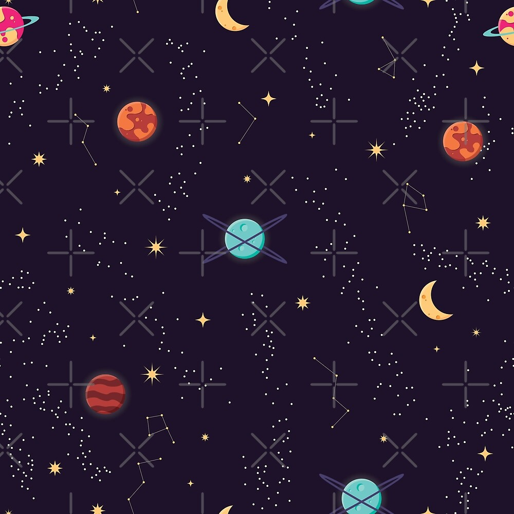 Universe with planets and stars seamless pattern, cosmos starry