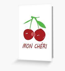 Mon Cheri My Darling Red Cherries Greeting Card