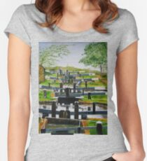 Looking down Audlem locks from lock No. 8 Women's Fitted Scoop T-Shirt