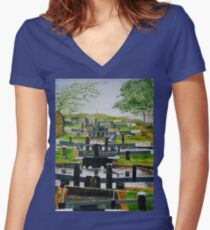 Looking down Audlem locks from lock No. 8 Fitted V-Neck T-Shirt