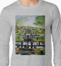 Looking down Audlem locks from lock No. 8 Long Sleeve T-Shirt