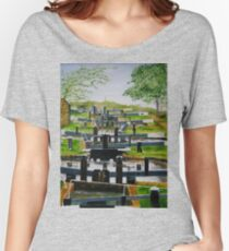 Looking down Audlem locks from lock No. 8 Relaxed Fit T-Shirt