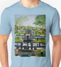 Looking down Audlem locks from lock No. 8 Unisex T-Shirt