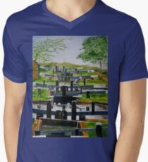 Looking down Audlem locks from lock No. 8 V-Neck T-Shirt