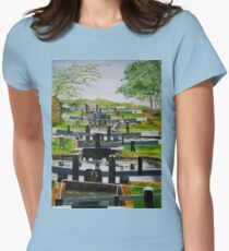 Looking down Audlem locks from lock No. 8 Fitted T-Shirt