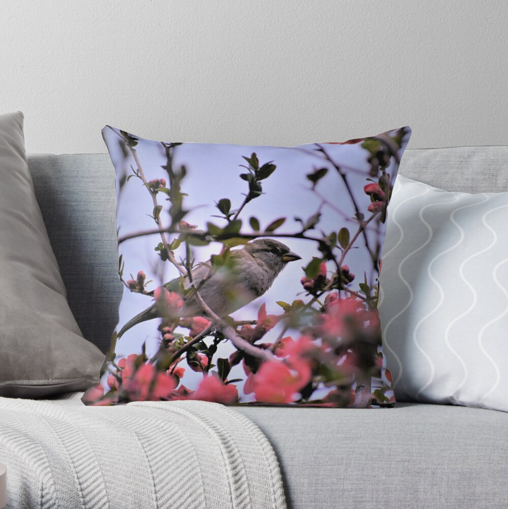 Hiding Among Quince Blossoms Throw Pillow